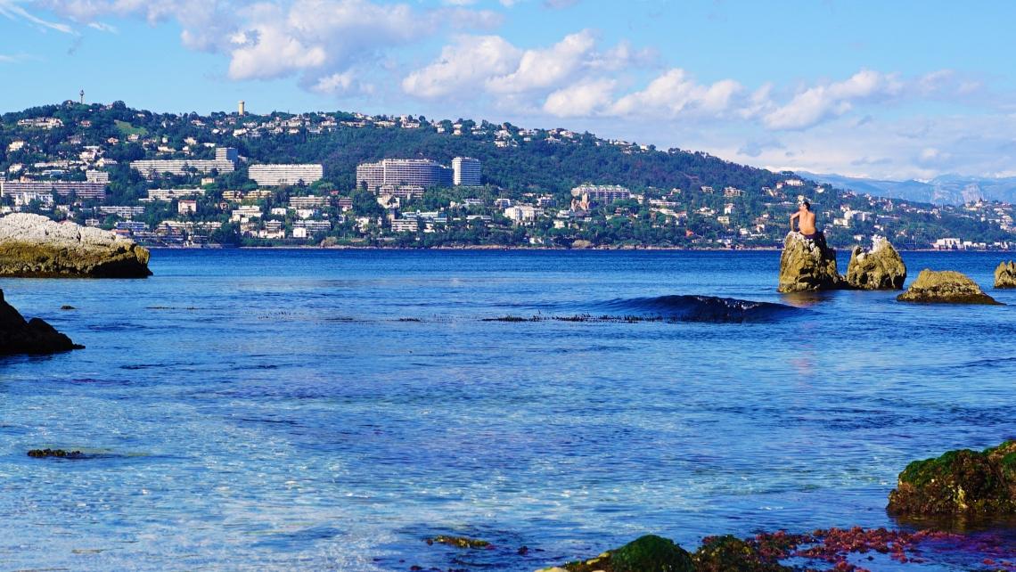 Man rock water Cannes sea